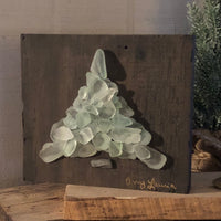 Teal Beach Glass Tree on Salvage Wood