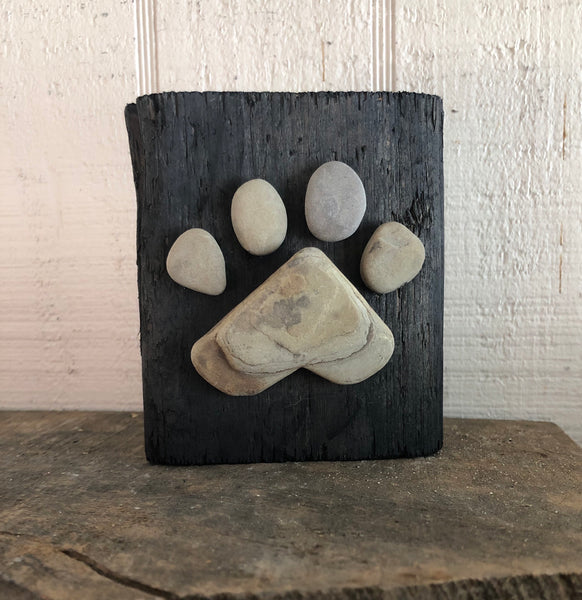 Stone Paw Print on Salvage Wood