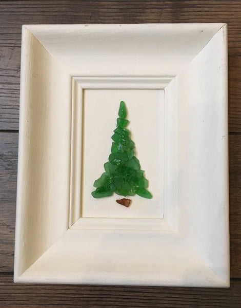 Original 7 x 9 Green Beach Glass Tree in Vintage Frame