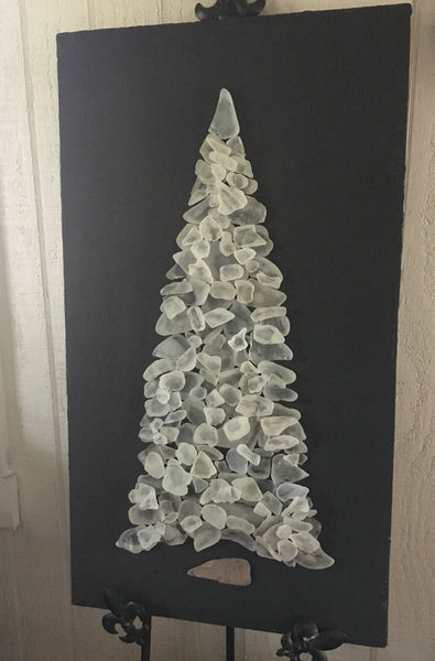 White Beach Glass Tree on Salvage Wood