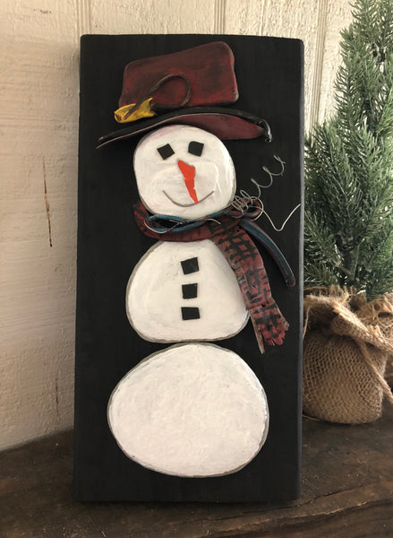 Stone Snowman on 5 1/2 x 10 1/2 Salvage Wood