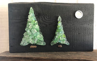 """Party of Two"" ~ Pair of Teal Trees on Salvage Wood"