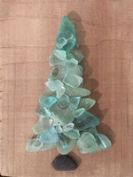Original 5x7 Aqua Turquoise Beach Glass Tree on Salvage Wood