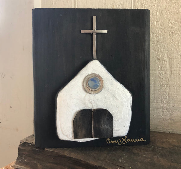 White stone Chapel on Salvage Wood