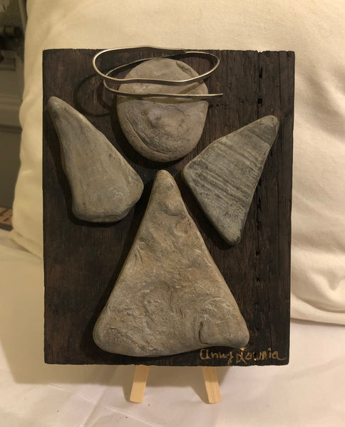 "Stone & Metal Angel on 6"" x 7"" Salvaged Barn Wood"