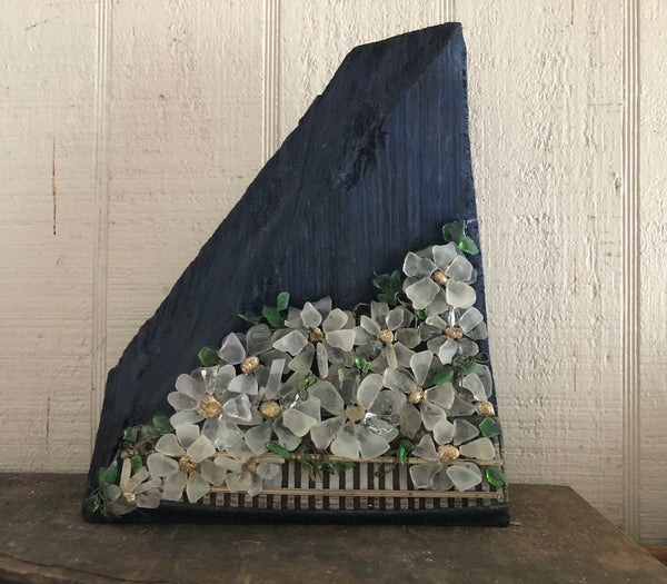Beach Glass Daisies on Funky Shaped Salvage Wood