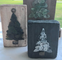 Original 3x5 Black Beach Glass Tree on Driftwood