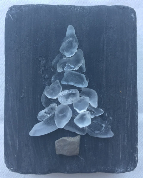 Original 3x3 White Beach Glass Tree on Driftwood