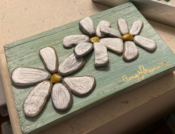 Stone Daisies on Pale Green Salvage Wood
