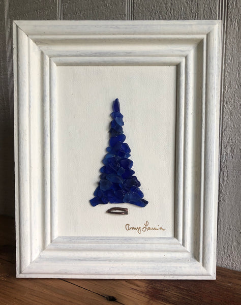 Framed Cobalt Beach Glass Tree on Driftwood