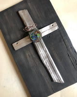 Silver Metal Cross Art on Salvaged Wood