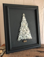 White Beach Glass Tree in Vintage Frame