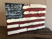 American Flag on Driftwood