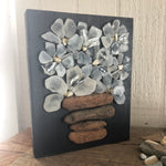 White Beach Glass Daisies on Salvage Wood