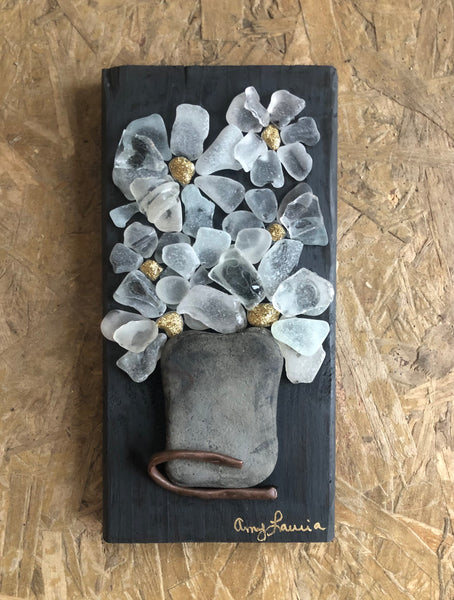 Beach Glass Flowers on Salvage Wood