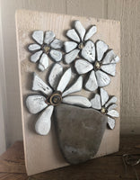 White Stone Daisies on Salvage Wood