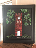 Red Brick Clock Tower in Vintage Frame