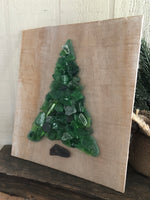 Green Beach Glass Tree on Salvage Wood