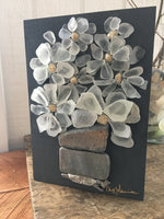 Beach Glass Daisies on Salvage Wood - Small