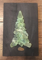 Original 5x7 Teal Beach Glass Tree on Salvage Wood