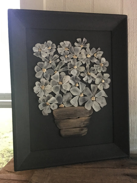 Original 2018 Glass Daisies in Vintage Frame