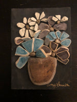 Clay Tile Flowers on Salvaged Wood