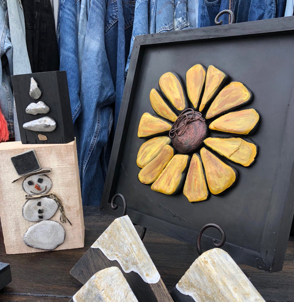 Stone Sunflower in Black Wood Box Frame