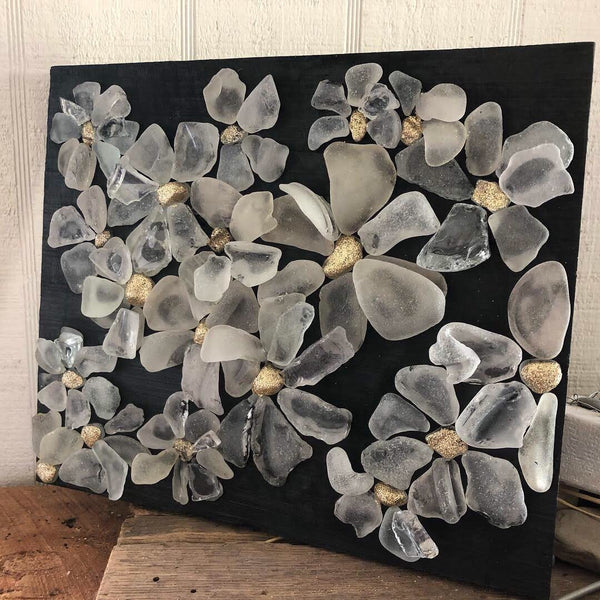 Copy of Beach Glass Daisies on Salvage Wood