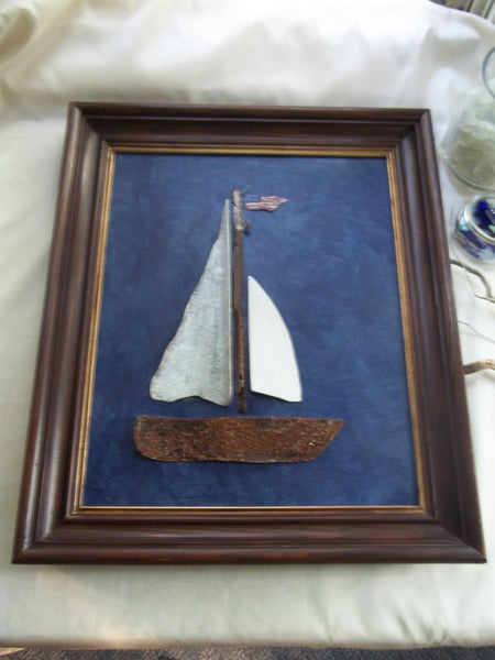 "ORIGINAL ""Freedom"" Sailboat in 21 x 24 Vintage Frame"