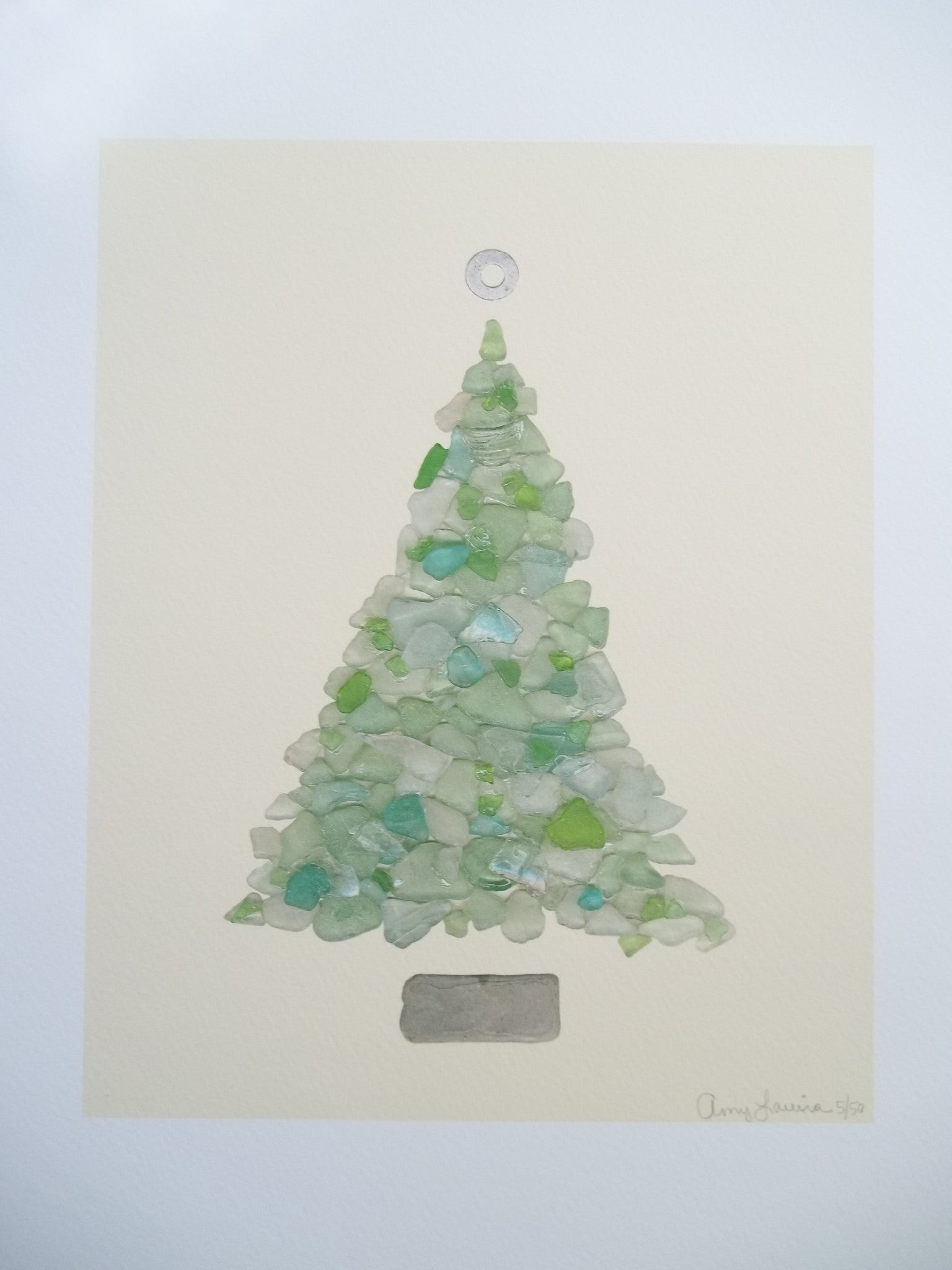 Turquoise Beach Sea Glass Tree 11 x 14 Unframed Print ~ Numbered & Signed