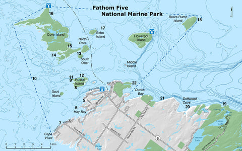 Fathom Five National Park Map, Tobermory, Canada