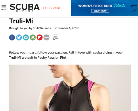 Truli Wetsuits in Scuba Diving Magazine