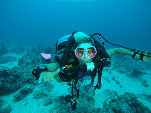 Ulli Herold of Ullis Diving in Egypt is scuba diving with a rebreather
