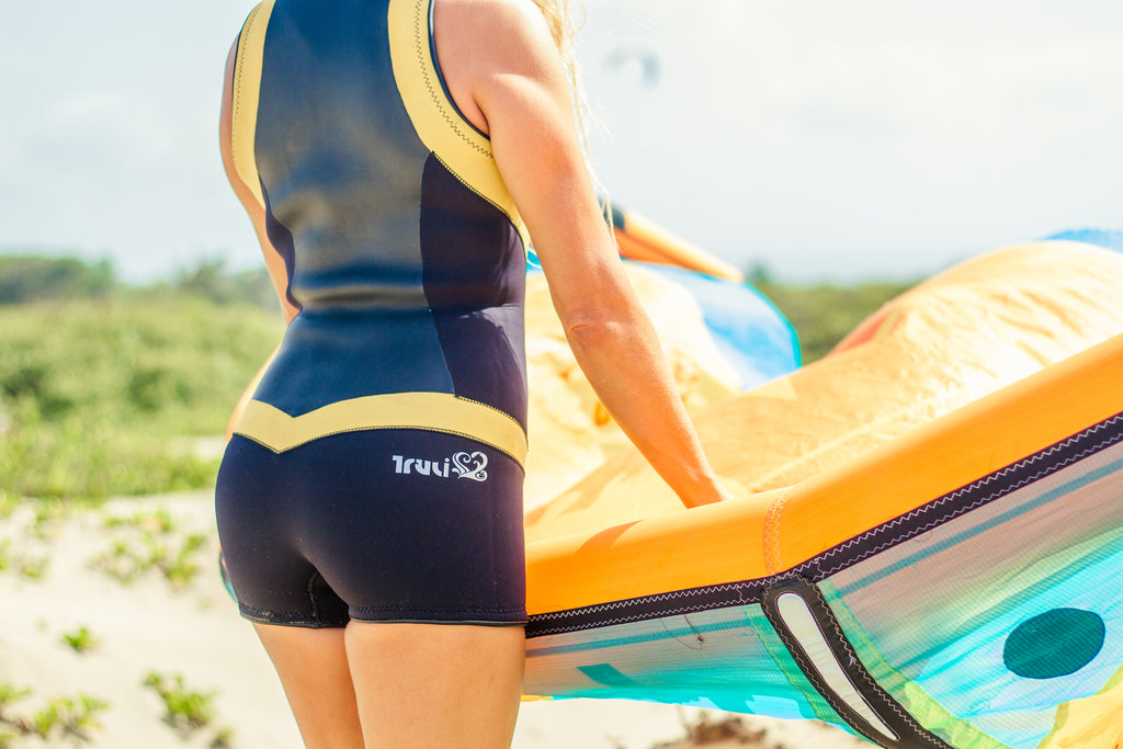 Truli Wetsuits for women uses colour blocking for a bold and sexy look.