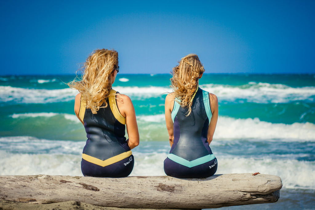 Truli Wetsuits for women use duraglide skin on the front and back of the wetsuit for wind protection and a stunning sihouette.