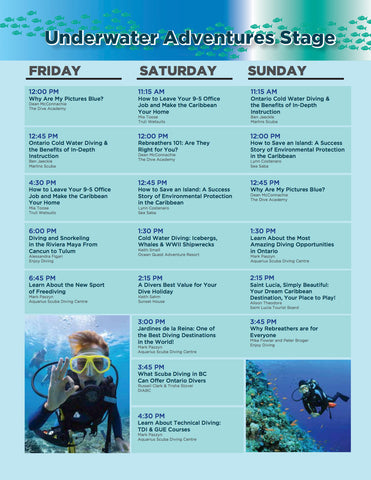 Outdoor Adventure Show - Toronto - Underwater Adventures Stage Schedule