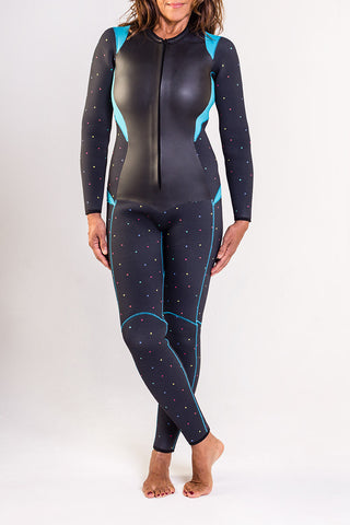 The Truli-Ful the Beautiful Wetsuit - Almost Black/Dots/Turquoise