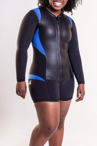 Women's wetsuit shorty front by Truli Wetsuits