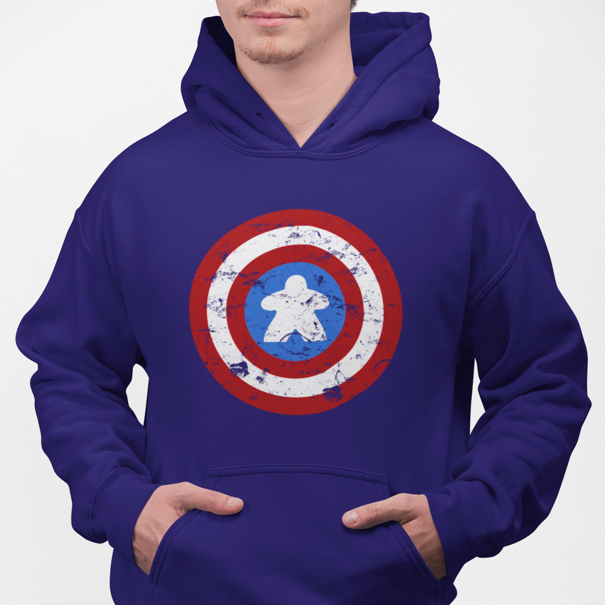 Captain Meeple Shield Board Game Pullover Hoodie