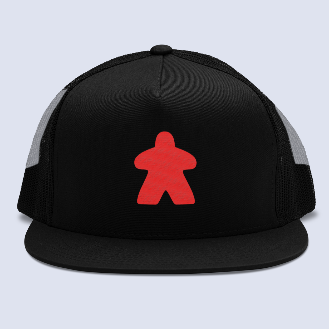 Red Meeple Board Game Flat Bill Trucker Hat