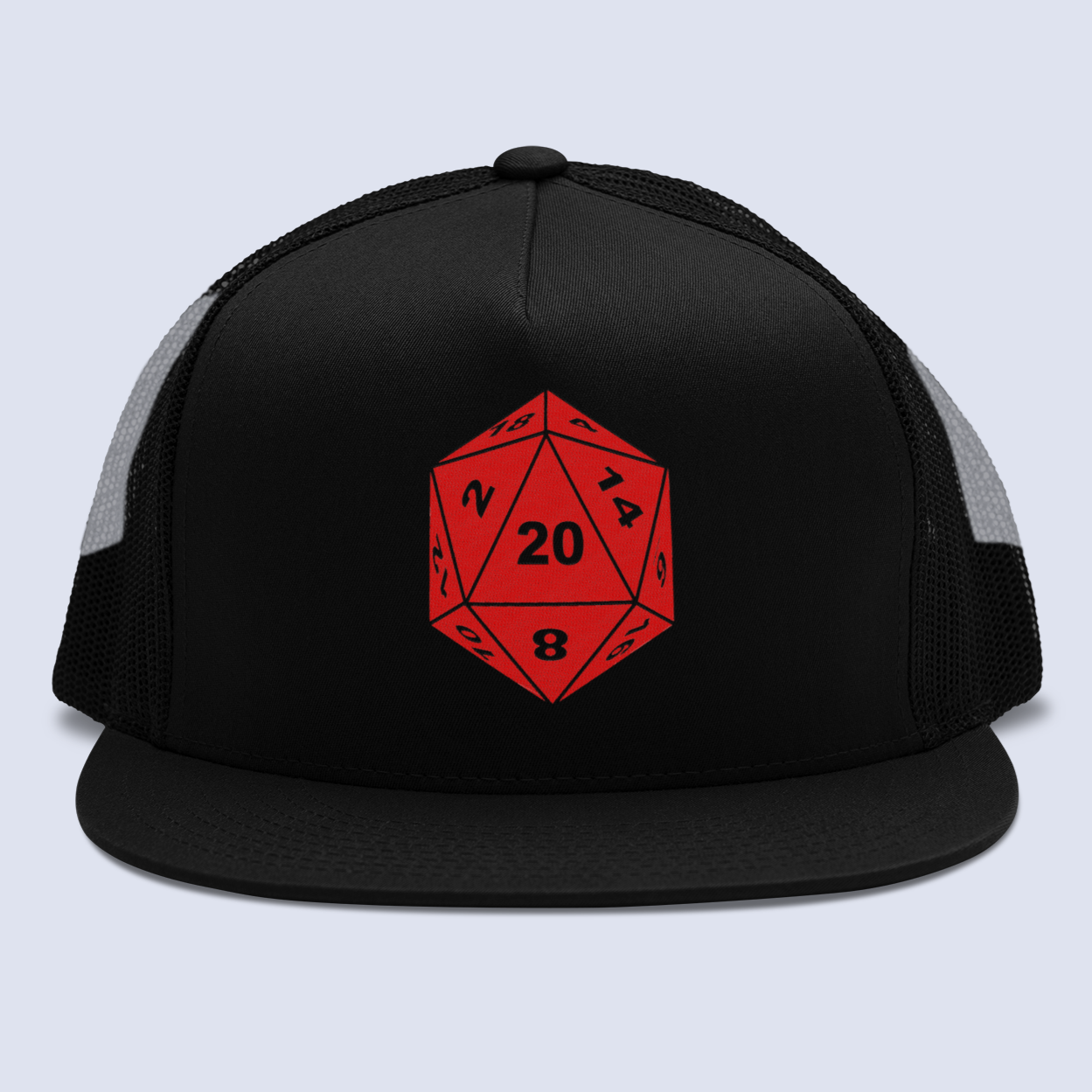 D20 Dragons & Dungeons Flat Bill Trucker Hat