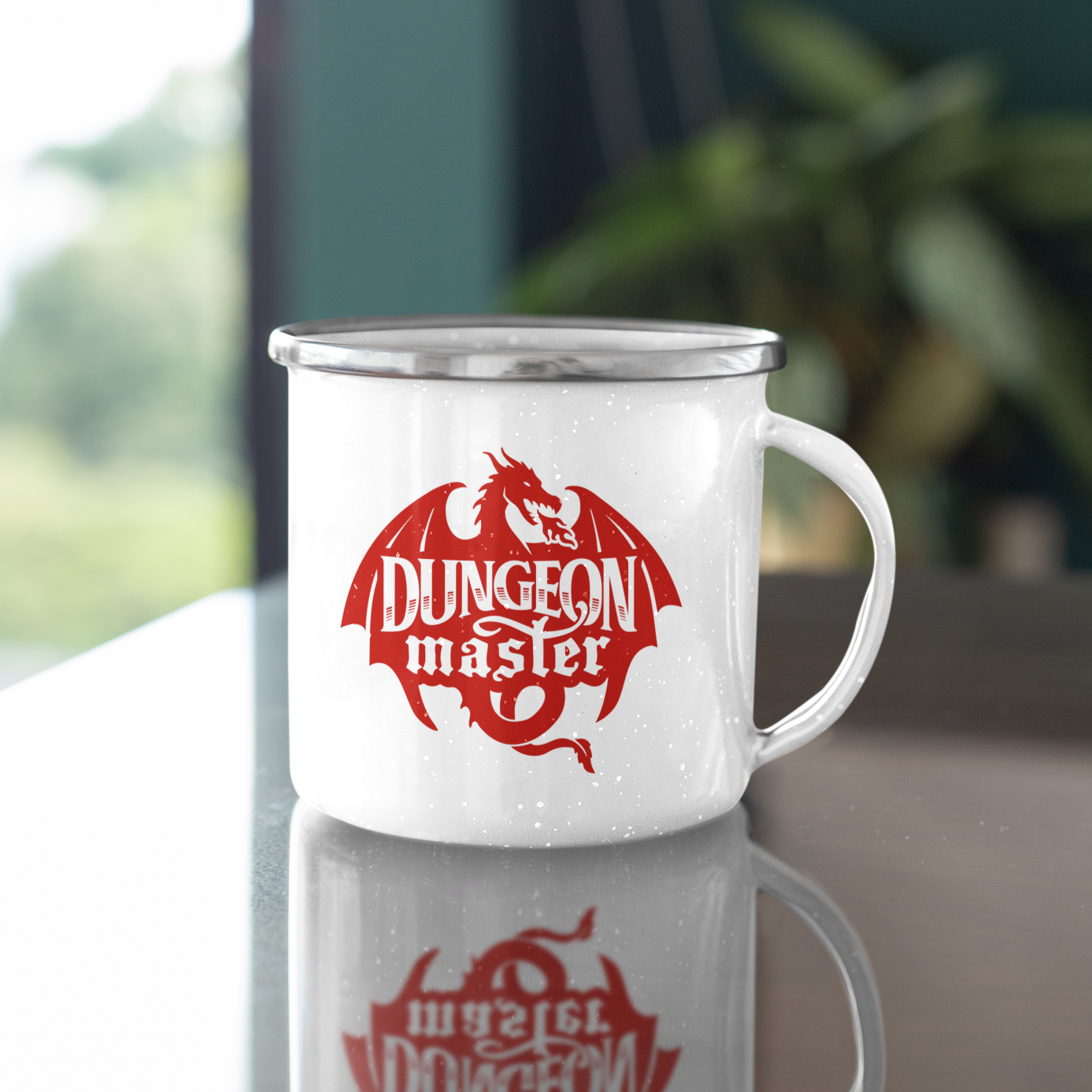 Dungeon Master Dragon Emblem 11oz Stainless Steel Camping Mug