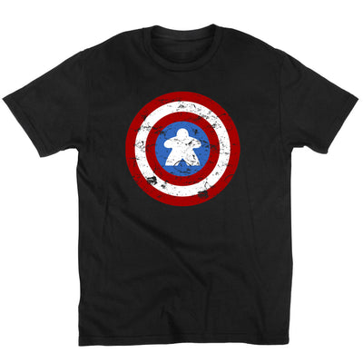 Captain Meeple Shield Board Game T-Shirt Men's Flat