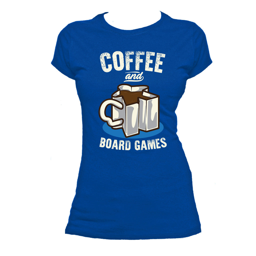 Coffee and Board Games T-Shirt Women's Flat Royal Blue