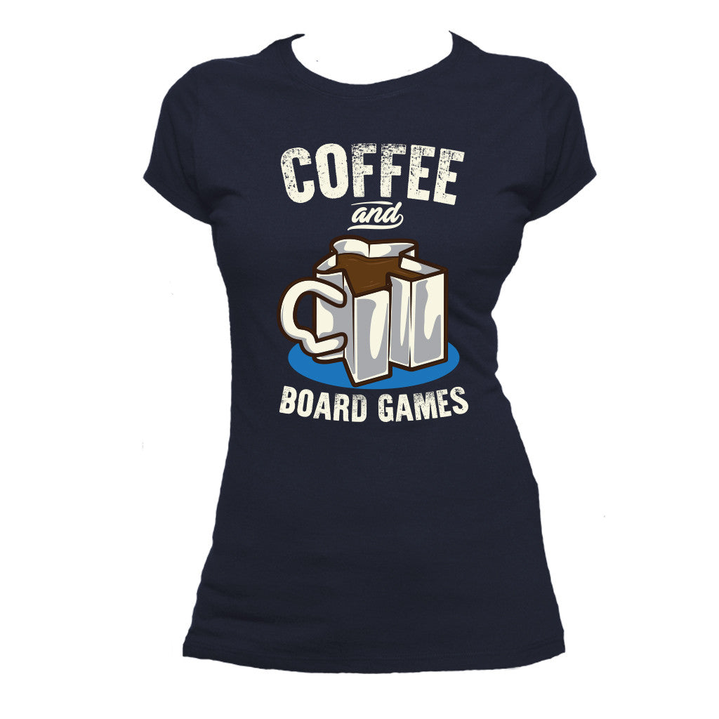 Coffee and Board Games T-Shirt Women's Flat Navy