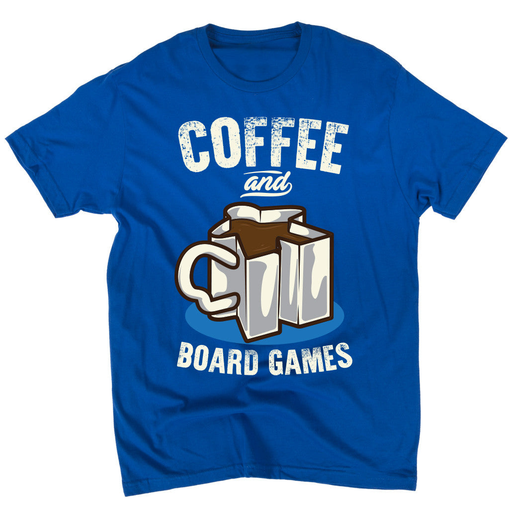 Coffee and Board Games T-Shirt Men's Flat Royal Blue