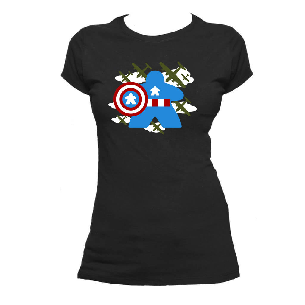 Fighting Captain Meeple Boardgame T-Shirt Flat Women's