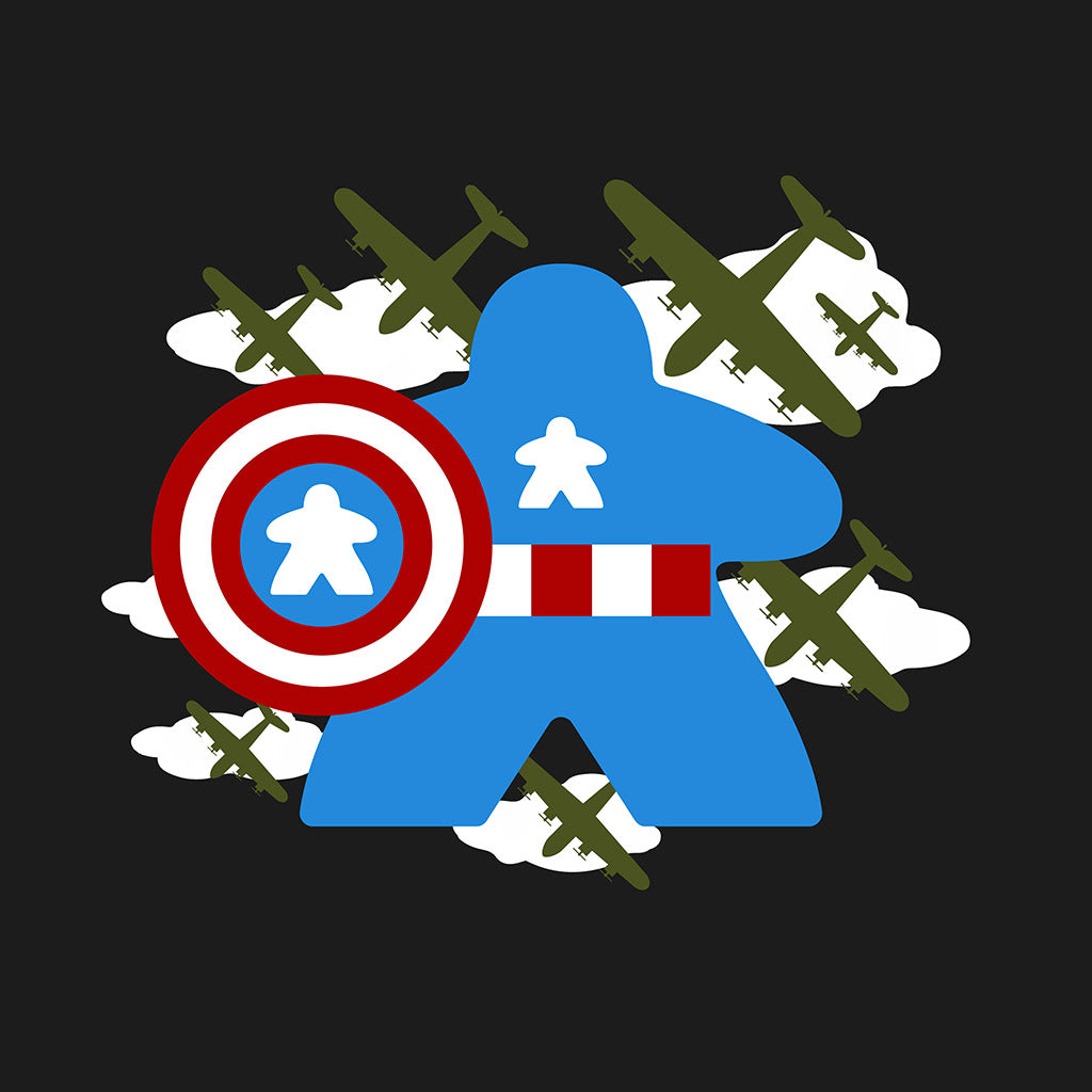 Fighting Captain Meeple Boardgame T-Shirt Close Up
