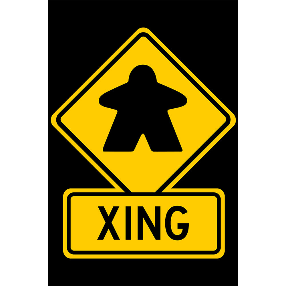 Meeple Crossing Metal Sign