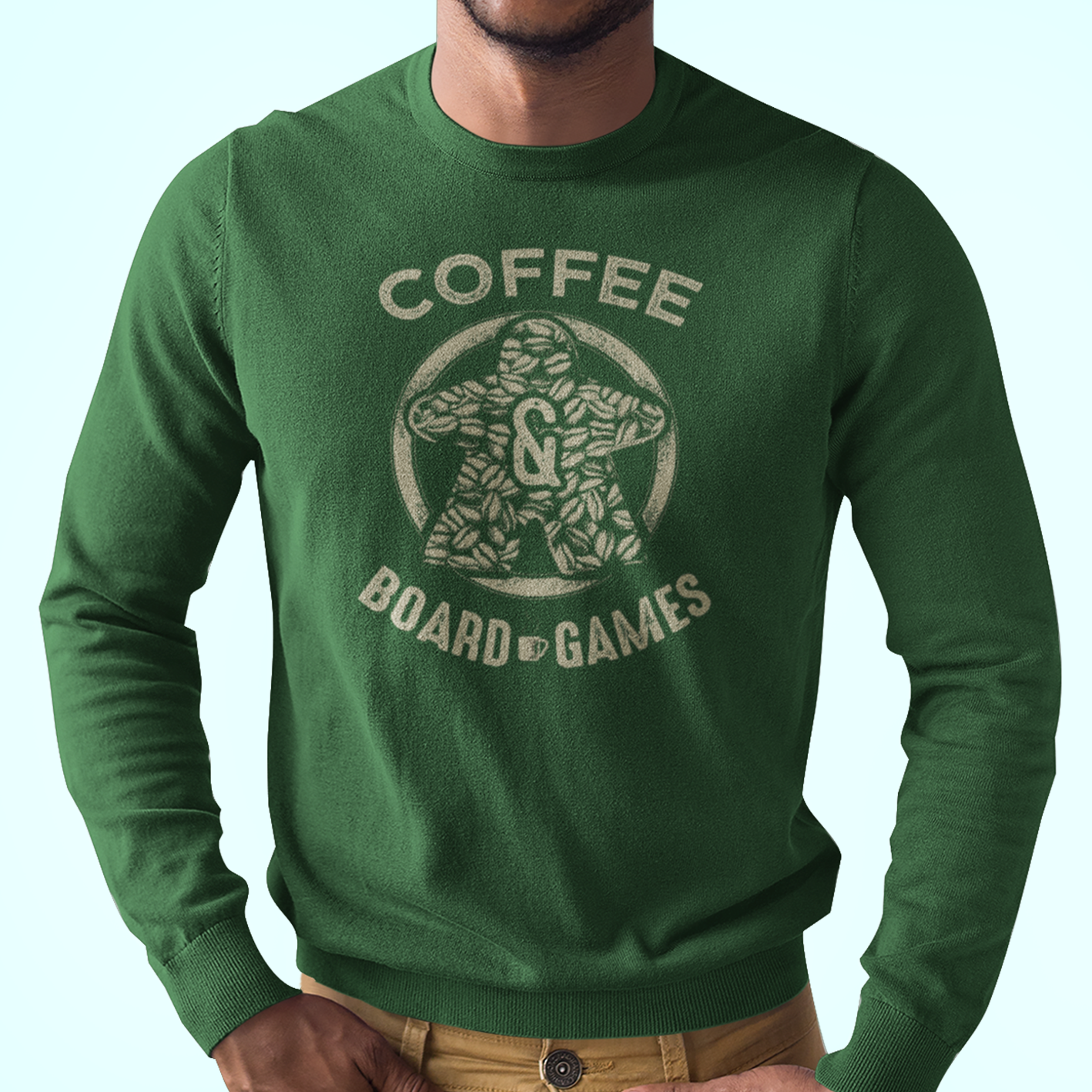 Coffee Bean Meeple Board Game Longsleeve T-Shirt